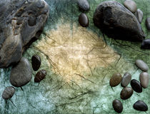 Shiny black stones and pebbles with water drops von Panoramic Images