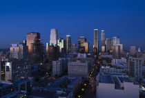 Skyscrapers at dusk, Los Angeles, California, USA 2010 by Panoramic Images