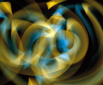 Abstract swirls of blue and gold ribbons of light by Panoramic Images