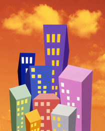 Multi colored abstract high rise buildings with bright orange sky and clouds by Panoramic Images