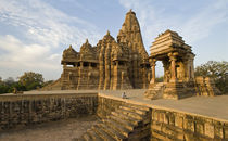Staircase in a temple, Khajuraho, Chhatarpur District, Madhya Pradesh, India by Panoramic Images