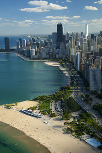 Aerial view of a city, Lake Michigan, Chicago, Cook County, Illinois, USA 2010 by Panoramic Images