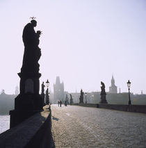 Low angle view of statues on a bridge, Charles Bridge, Prague, Czech Republic by Panoramic Images