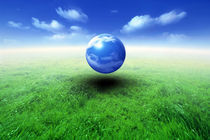 Sphere filled with clouds floating in blue sky and clouds over green grass von Panoramic Images