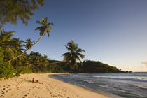 Tourist on the beach, Anse Takamaka Beach, Mahe Island, Seychelles by Panoramic Images