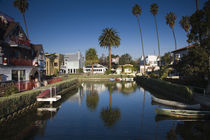 Homes along a canal, Venice, Los Angeles, California, USA von Panoramic Images