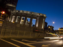 Light trails of a vehicle on a road at night, New York City, New York State, USA by Panoramic Images