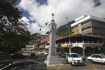 Traffic around a clock tower, Victoria, Mahe Island, Seychelles by Panoramic Images