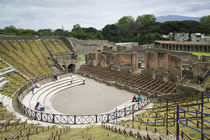 High angle view of tourists at an amphitheater by Panoramic Images