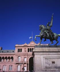 Low angle view of an equestrian statue in front of a government building by Panoramic Images