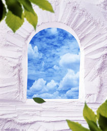 White plaster arched window with blue sky and clouds greenery in the corner by Panoramic Images