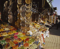 Souvenirs at a market stall, Marrakesh, Morocco by Panoramic Images