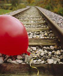 Close-up of a balloon on a railroad track, Germany von Panoramic Images