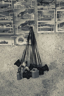Postcards and toy cameras for sale, Castelsardo, Sassari, Sardinia, Italy von Panoramic Images