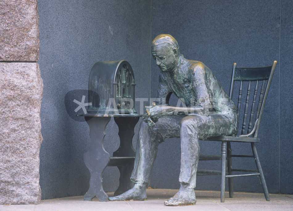 """""""Bronze statue of a man listening to radio during great ..."""