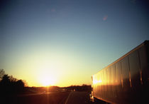 Semi-truck on a highway, Interstate 40, Haywood County, Tennessee, USA by Panoramic Images