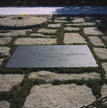 High angle view of the grave of Jacqueline Lee Bouvier Kennedy Onassis by Panoramic Images
