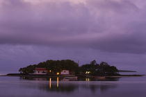 Houses on an island at dusk, Ile Mouchoir Rouge Island, Mahebourg, Mauritius by Panoramic Images