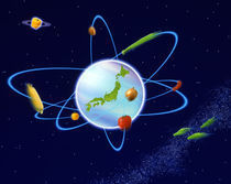 Glowing globe with rings and vegetables floating in space von Panoramic Images