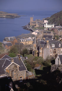 Birds-eye view of port town of Oban, Scotland. by Panoramic Images
