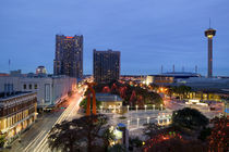 Buildings lit up at dusk, San Antonio, Texas, USA by Panoramic Images