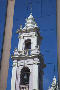 Reflection of a cathedral on a window, Salta Cathedral, Salta, Argentina by Panoramic Images