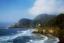Coastal Scene In Mist With Heceta Head Lighthouse by Panoramic Images