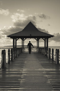 Silhouette of a person on a pier at dawn, Mahebourg, Mauritius by Panoramic Images