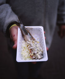 Mid section view of a man holding a tray of raw herring with onions by Panoramic Images