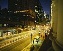 Buildings lit up at night, Philadelphia, Pennsylvania, USA by Panoramic Images