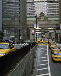 Yellow taxis on road viewed from Park Avenue Tunnel by Panoramic Images