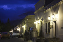 Buildings lit up at night in a town, Cachi, Salta Province, Argentina by Panoramic Images