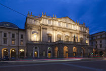 Facade of an opera house at dusk, La Scala, Milan, Lombardy, Italy by Panoramic Images