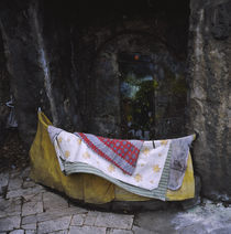Blankets in front of a door, Budapest, Hungary von Panoramic Images