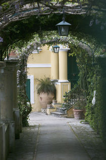Lanterns hanging in a garden, Capri, Naples, Campania, Italy by Panoramic Images