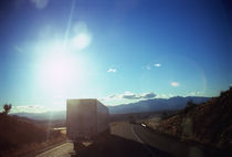 Semi-truck moving on the road, Interstate 40, Mohave County, Arizona, USA by Panoramic Images