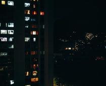 Building lit up at night, Rio De Janeiro, Brazil von Panoramic Images