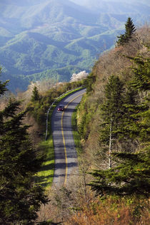 High angle view of car on Blue Ridge Parkway by Panoramic Images