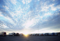 Semi-trucks parked on the road, Moriarty, Torrance County, New Mexico, USA by Panoramic Images