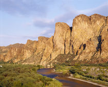 Rock formations in front of a river, Salt River, Phoenix, Arizona, USA by Panoramic Images