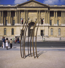 Metal sculpture in front of a building, Place de la Concorde, Paris, France by Panoramic Images