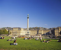Group of people in a park, Schlossplatz, Stuttgart, Baden-Wurttemberg, Germany by Panoramic Images