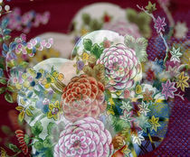Oriental chrysanthemum fabric out of focus by Panoramic Images