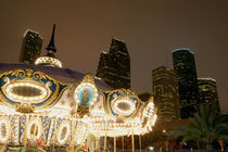 Carousel lit up at night, Houston, Texas, USA by Panoramic Images