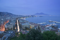 High angle view of a city at dusk, Mt Vesuvius, Naples, Campania, Italy by Panoramic Images
