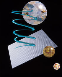 Three glass orbs, blue spiral, grey sheet on black background by Panoramic Images