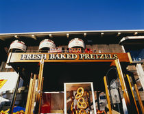 Low angle view of pretzels hanging in front of a shop, San Francisco, USA von Panoramic Images