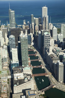 Aerial view of a city with Lake Michigan in the background by Panoramic Images