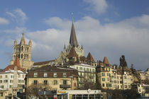 Cathedral in a city, Lausanne, Switzerland by Panoramic Images