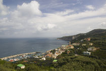 High angle view of a town on the hillside by Panoramic Images
